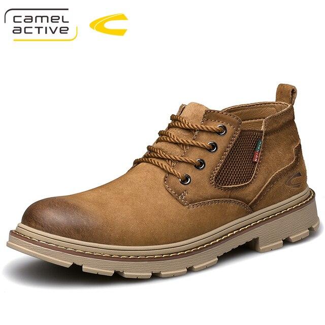 Camel activo nuevos zapatos de cuero genuino para hombre hechos a mano zapatos casuales al aire libre suela gruesa costura antideslizante macho calzado