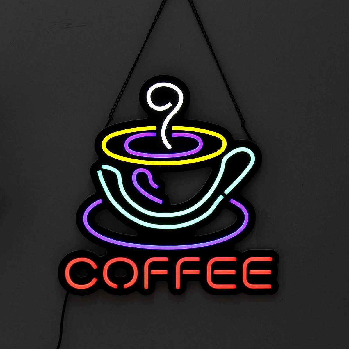 กาแฟ LED Neon Sign Light แขวนบาร์ภาพงานศิลปะโคมไฟตกแต่งโคมไฟเชิงพาณิชย์หลอดไฟนีออน AC110-240V