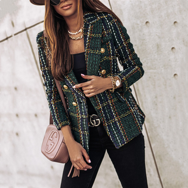 Autumn And Winter Long-sleeved Women Plaid Button Fashion Jacket 2020 Slim Office OL Professional Work Plus Size Casual Suit
