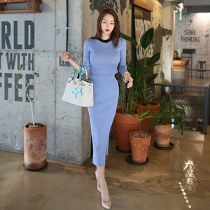 Image 2 - 2020 New spring Autumn Knitted two Piece Set Women Outfits Sweaters pullover Tops + high waist Long Skirt set ensemble femme