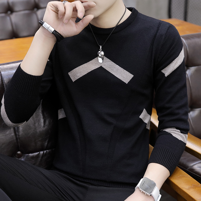 Leisure New Men Sweaters Round Collar Long-sleeved Youth Black Figure-flattering Sweater Men O-Neck Casual Pullovers