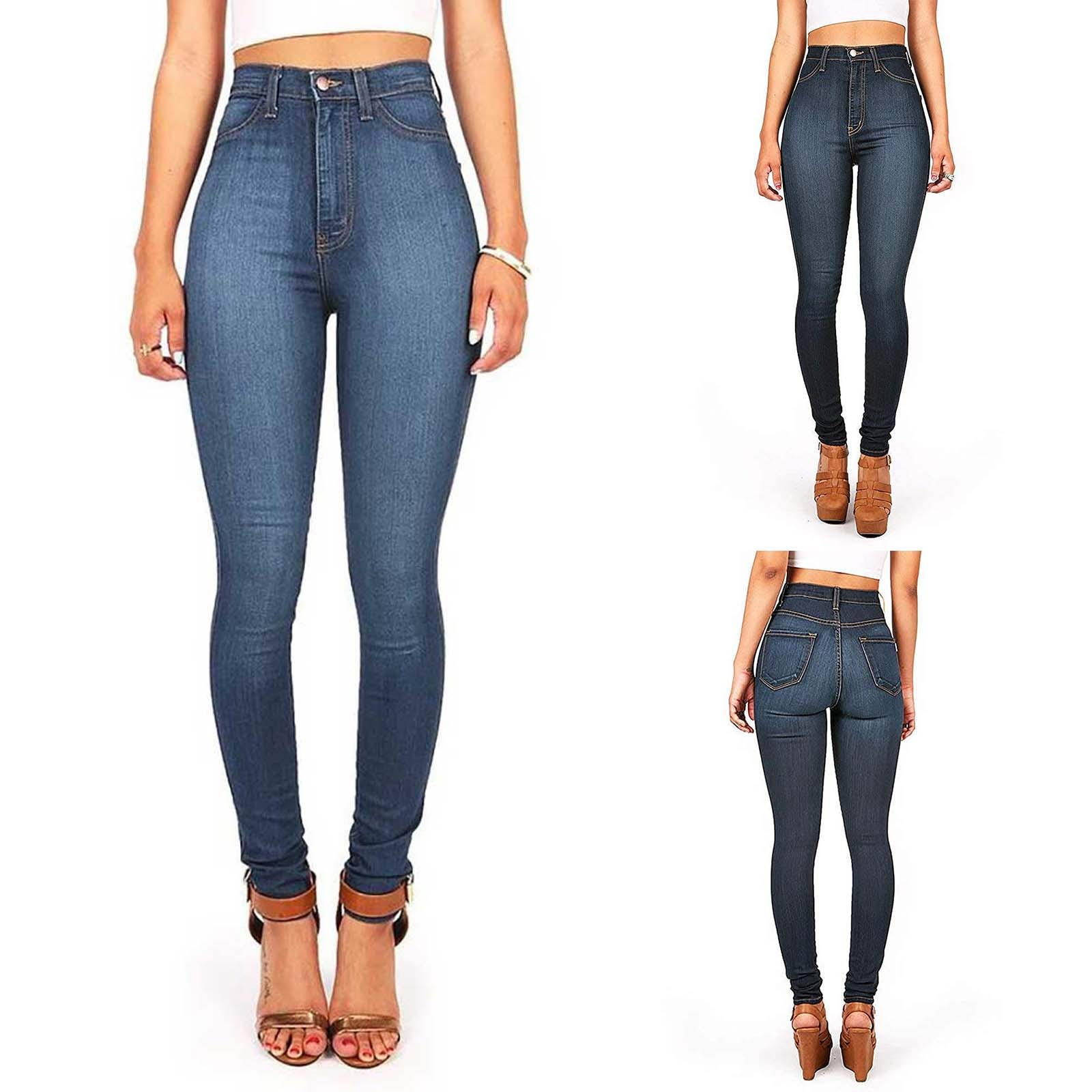 Casual Pants Classic Teenagers Wide-Legged Sexy High-Waist Large-Size Women Denim Slim