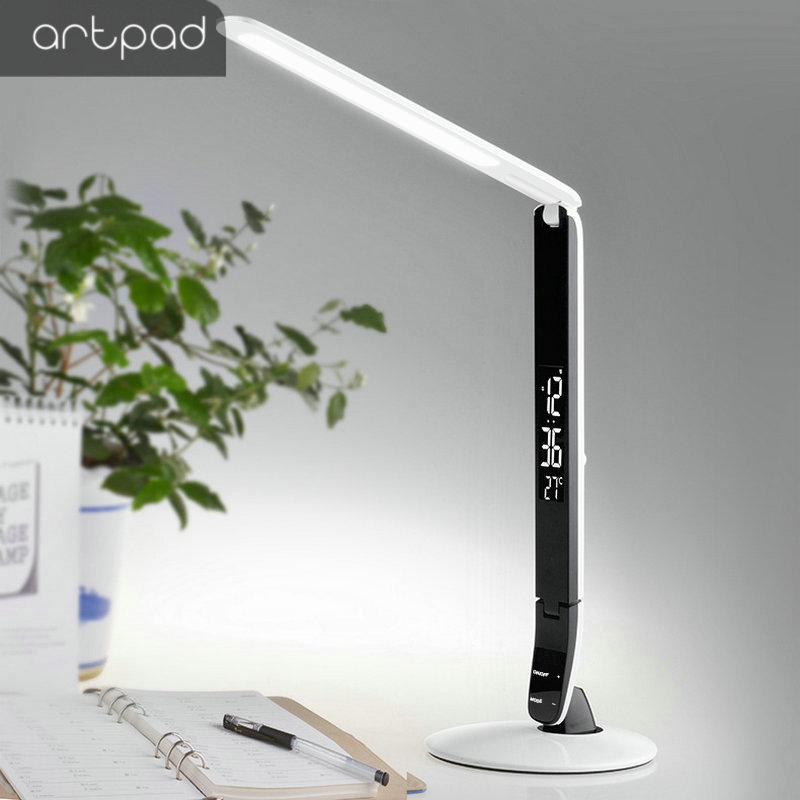 10W LED Top Desk Lamps 3 Grade Brightness with Chagre Port LCD Time Calendar Temperature for