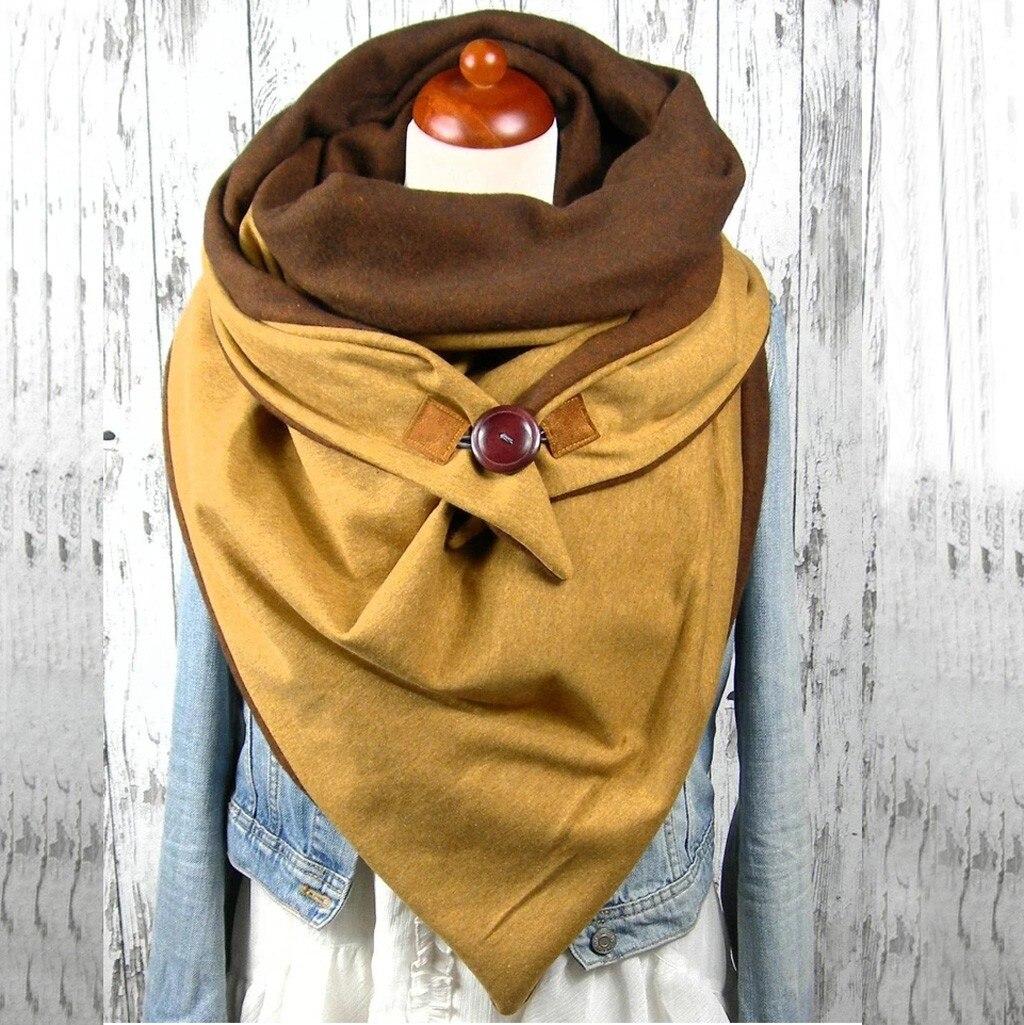2020 Scarf Women Fashion Women Soild Star Printing Button Soft Wrap Casual Warm Scarves Shawls