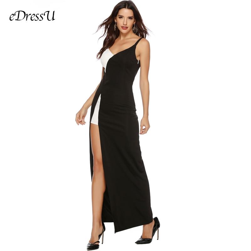 Sexy Evening Dress Vestido De Fiesta Black White Contrast Party Dress Slit Evening Club Dress Long Formal Dress YSM-5130