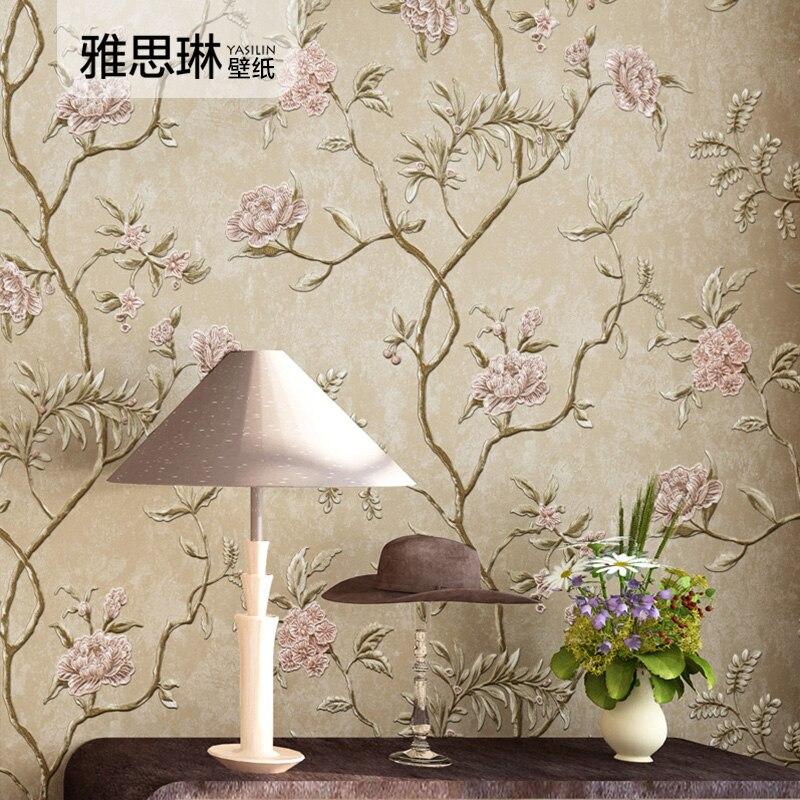 Bonne qualité 3D rural floral rétro américain papier peint maison non-tissé chambre salon style européen papier peint de luxe