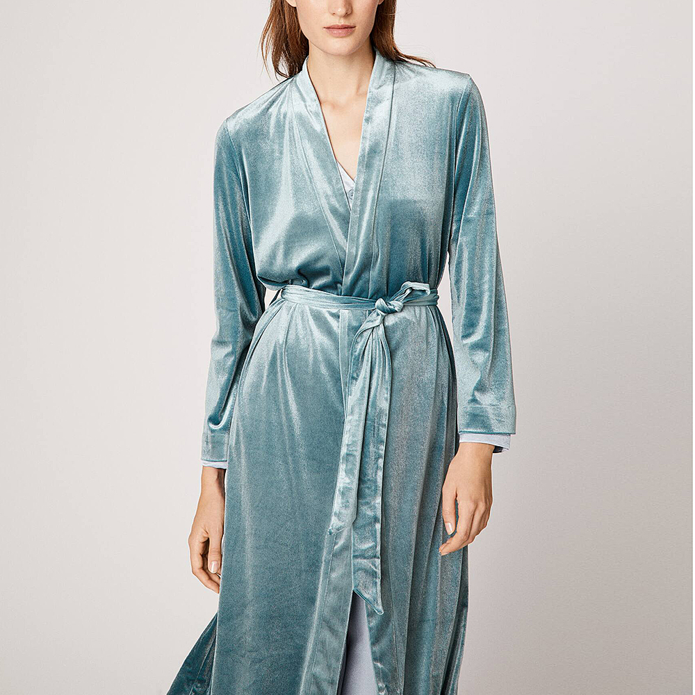 Women's Sleepwear Velvet Robes Warm Pajamas.Ladies Night Bathrobes Sleep Nightgown Spa Kimono Robe Dressing Gown Home Loungewear