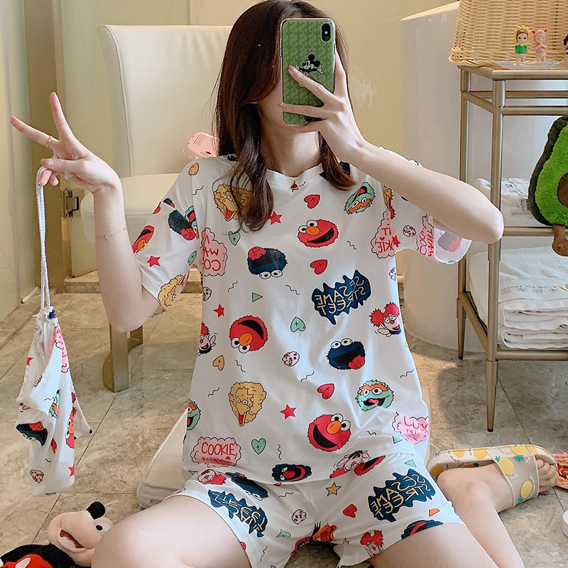 2020 WAVMIT Short Sleeve Pajamas Polyester Set 2 Pcs Set Women Sleepwear 3Pcs Nightwear For Women Sleepwear Short Pant Cloth Bag