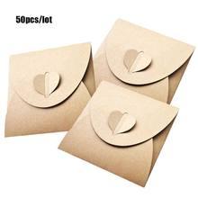 50 sztuk 13x13cm serce Kraft papierowe opakowanie torba, rękawy płyty DVD worek do pakowania