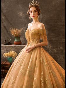 Wedding-Dress Bride-Gown Royal Retro Trailing Beaded-Tassel Custom Ceremony Court Private