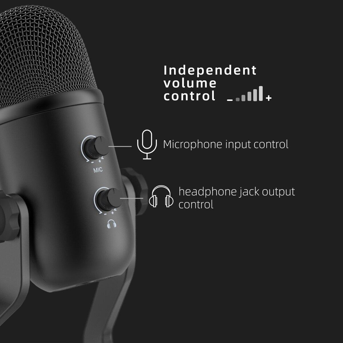 Microphone USB FIFINE pour enregistrement/Streaming/jeu, microphone professionnel pour PC & Mac, sortie casque micro & Control-K678 de Volume - 3