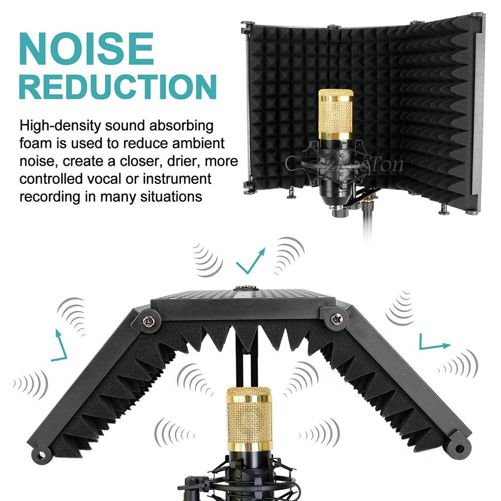 tripé condensador microfone tela vento isolamento escudo