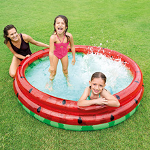 168x38cm inflatable watermelon paddling pool, safe high-density PVC plastic family entertainment and children's paddling pool #
