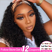 Curly Wave Headband Wig Human Hair Wigs 26 Inch Brazilian Machine Made Remy Natural Color Hair Wigs For Black Women 130% Density