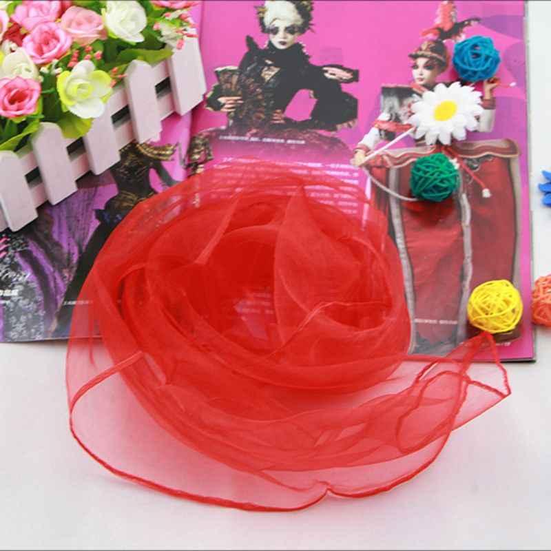 70x70CM mujeres Chiffon pañuelo de cuello cuadrado dulce Color sólido caramelo lazo de señora pañuelo baile Vintage cabeza envuelve 11 colores