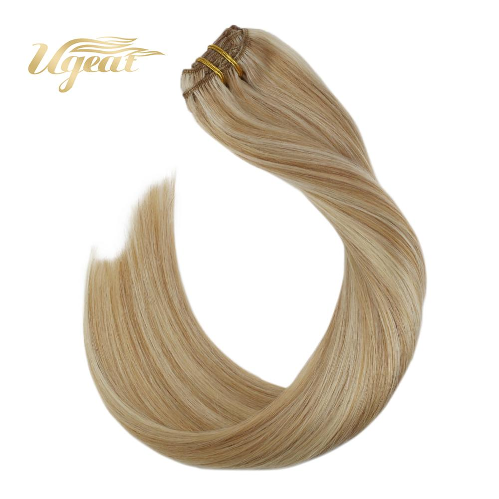 Ugeat Weft Human Hair Clips Brazilian Human Hair Extensions 14-24