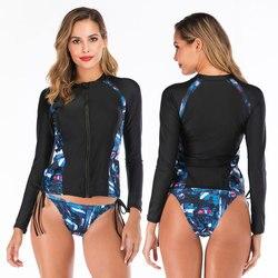 Womens Manga Comprida Zip up Guarda Erupção Duas Peças Acolchoadas Surf Swimsuit com Bottoms Boyshort Swimwear Maiô