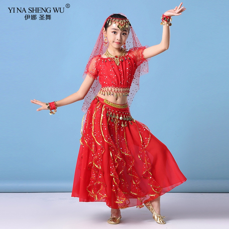 Kids Belly Dance Costumes Set Oriental Dance Girls Belly Dancing India Dance Clothes Bellydance Children Indian Bollywood Outfit