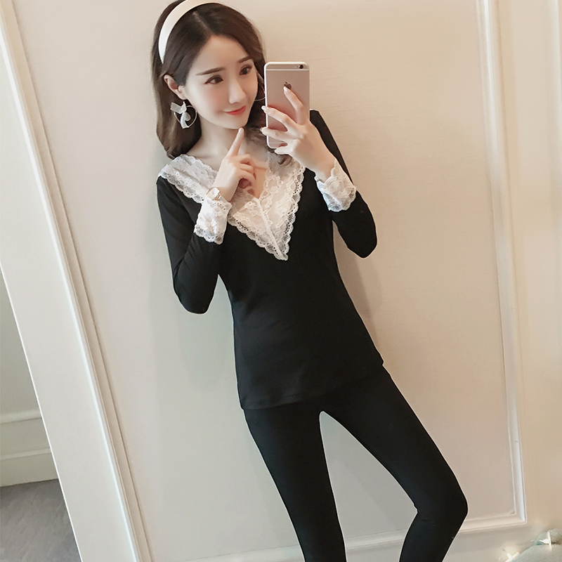 Women Thermal Underwear Set Thickening Plus Velvet Body Bottoming Clothes Sweater Long John Winter Women Thermal Warm Clothes
