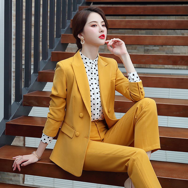 Yellow Suit Female Pants Suit High Quality Double Breasted Long Sleeve Blazer Ladies Business Office Set Autumn Women's Suit