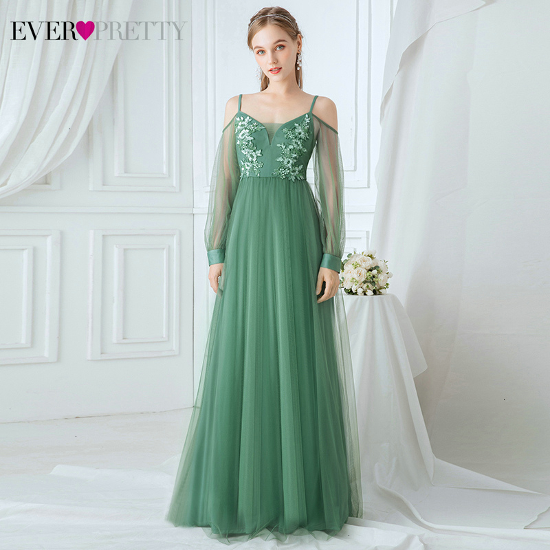 Elegant Green Bridesmaid Dresses Ever Pretty A-Line V-Neck Floral Appliques Tulle Spaghetti Straps Wedding Guest Dresses Vestido