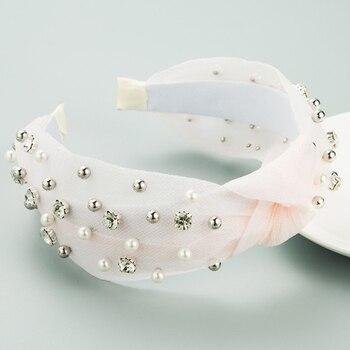 Summer Lace Knot Hair Hoop Pearl Rhinestone headbands 3