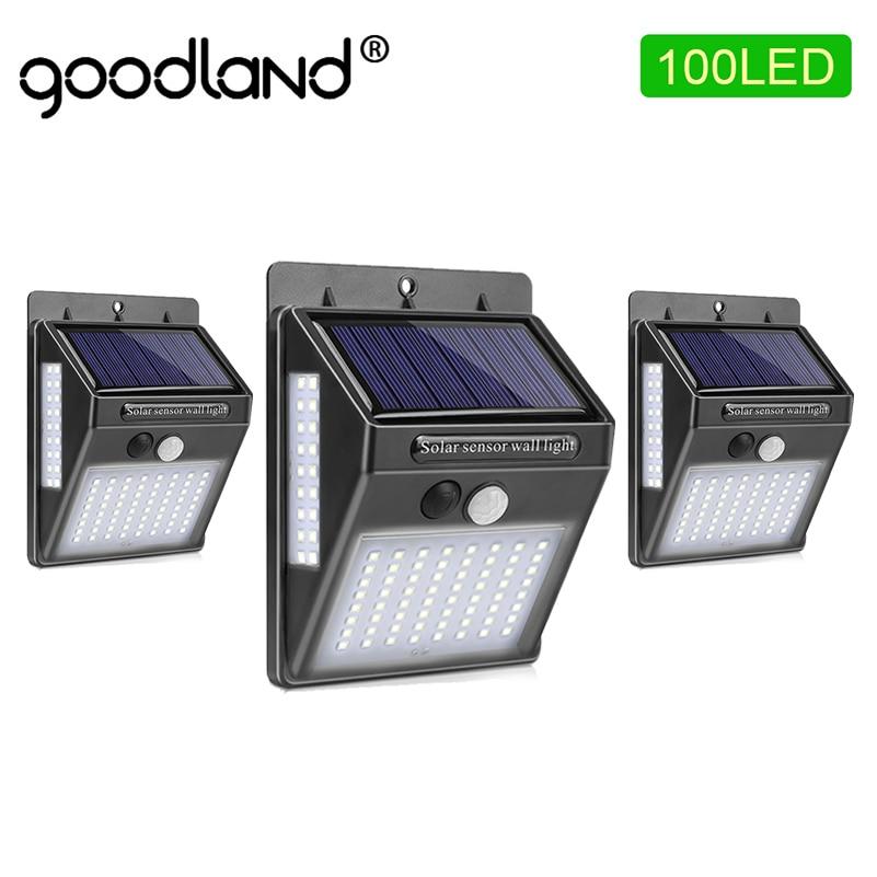 Goodland 100 LED Solar Licht Outdoor Solar Garten Lampe PIR Motion Sensor Solar Powered Sonnenlicht Wasserdicht für Straße Dekoration