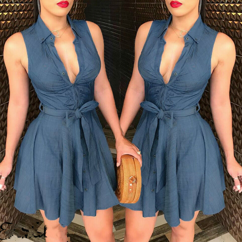 Summer Dress Sexy Clubwear 2019 Women V-neck Dresses Casual Sleeveless Button Mini Dress Vestido