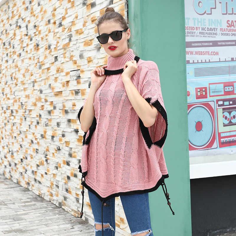 Fitshinling-pull-over pour femmes, style Boho, hiver rose, cape Poncho, manches chauve-souris, col roulé, tricoté, surdimensionné, 2019