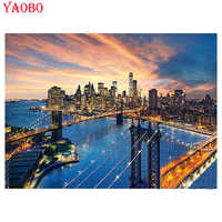 New York City Brooklyn Bridge Manhattan Sunset 5d diy diamond painting Cross Stitch square round mosaic embroidery wall decor