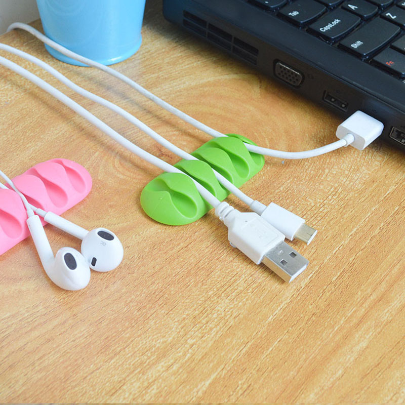 5-Clip For PC TV USB Cable Earphone Wire Protector Earphone Cable Winder Organizer Charger Cable Holder Fixing Clips USB Tie