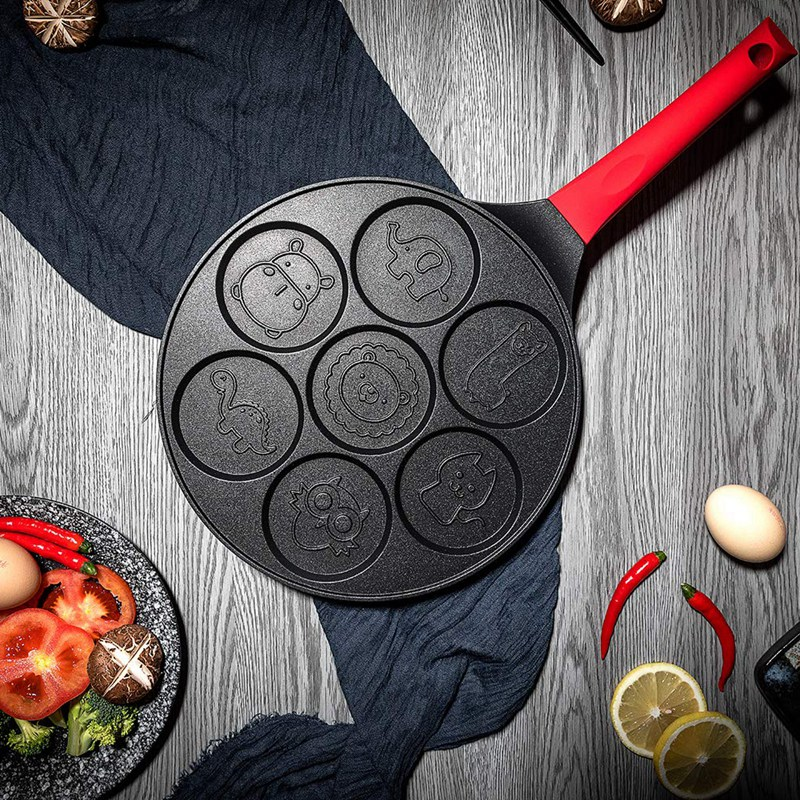 Pancake Maker - Non-Stick Pancake Pan Griddle Grill Pan Mini Crepe Maker 7-Mold Pancakes With Silicone Handle
