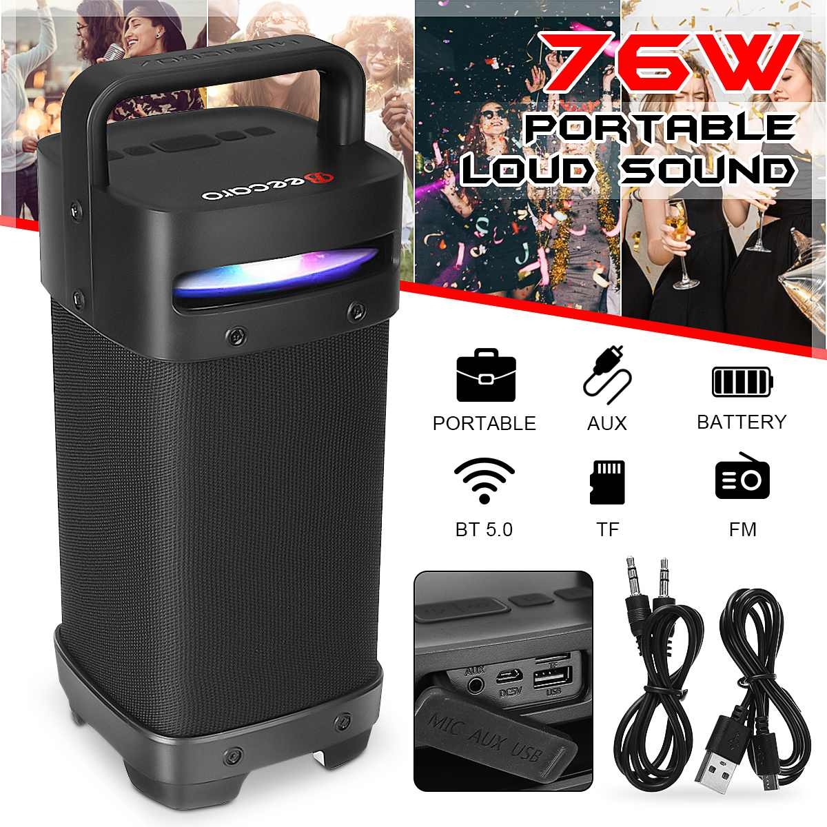 Portable Bluetooth 5.0 tws Speakers 76W Loud Outdoor Speakers with Subwoofer FM Radio LED Lights HIFI Stereo Sound Boombox