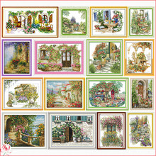 Flowers Scenery Stamped Cross Stitch Kits Handmade Embroidery 11CT 14CT Counted Printed Needlework Decoration Patterns Sets Gift