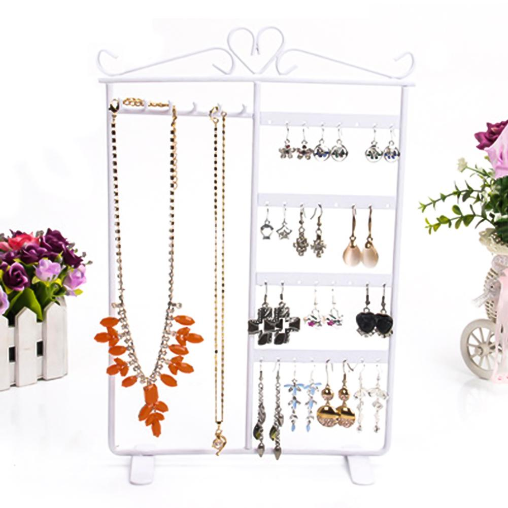 32 Holes 6 Hooks Necklace Hang Stand Holder 4 Tiers Jewelry Show Rack Organizer Ideal For Home Use Or Business Use Perfect Gifts