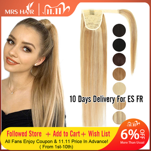 MRSHAIR Ponytail Human Hair Remy Hair Extensions Brazilian Hair Extensions Clip Ins Natural Blonde Brown Color 14 18 22 Inch