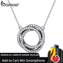BAMOER colgante de circonia cúbica para mujer, Plata de Ley 925 auténtica, círculo redondo, elegante, joyería de plata de ley SCN259