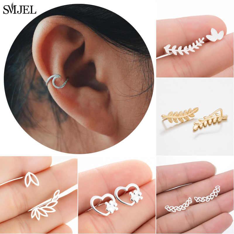 SMJEL ง่ายหู Cuffs สำหรับผู้หญิง Gold Wave Leaf หู Cuff ต่างหู Climbers ไม่มีปลอมกระดูกอ่อนต่างหู Studs Bijoux