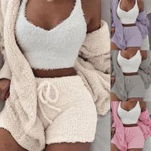 3 Pz/set Sexy di Inverno Delle Donne di Casa Vestito di Usura Casual Pigiami A Maniche Lunghe Esposto Ombelico Maglia Shorts Set