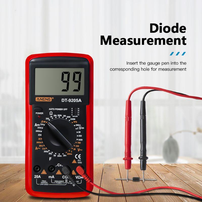 DT9205A hFE AC DC ЖК-дисплей Профессиональный электрический ручной тестер метр Цифровой мультиметр Multimetro Амперметр мультитестер