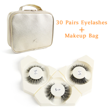 Wholesale 30 Pairs/lot False Eyelashes with Gold Bag Natural Fake Extension Handmade Soft Faux 3D Mink Lashes Makeup