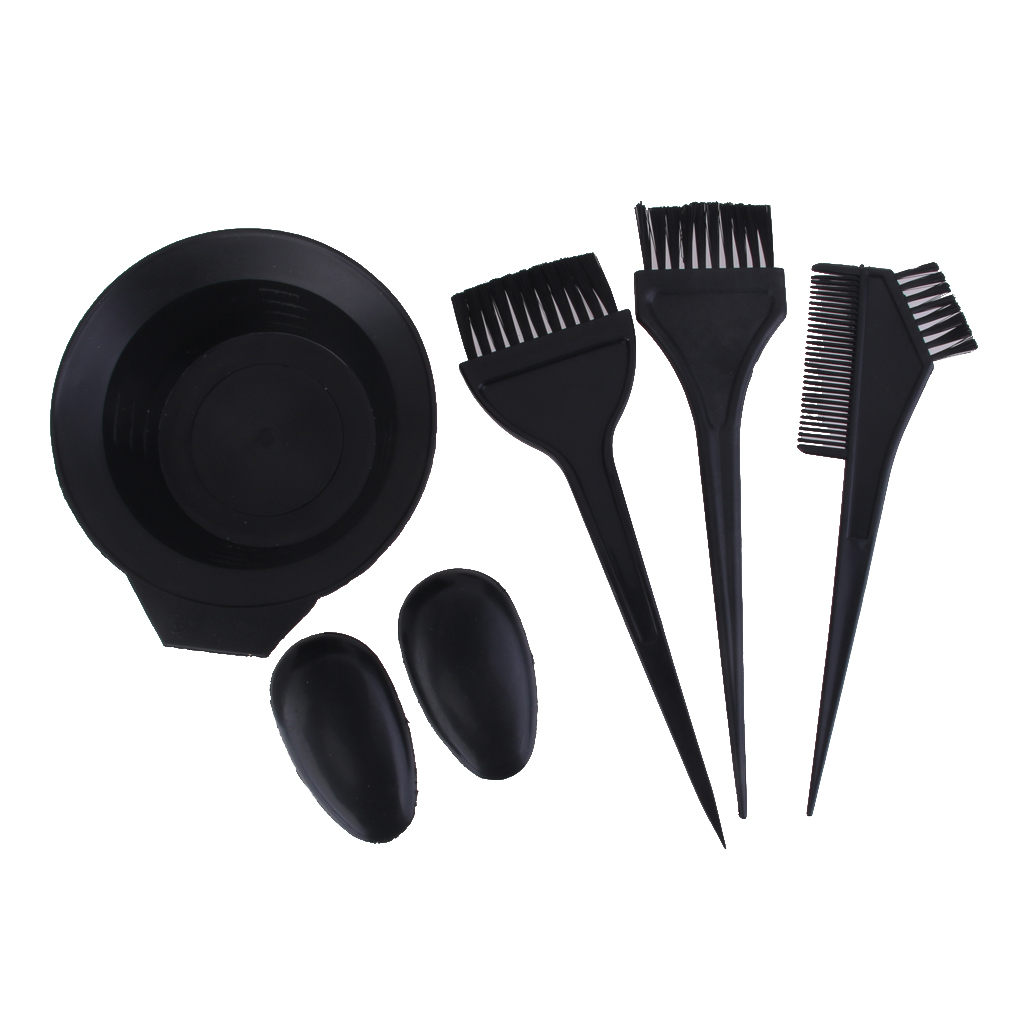 Hair Coloring Dye Tint Bowl Comb Brush Mixing Tool Set For Salon Hairdresser - Black