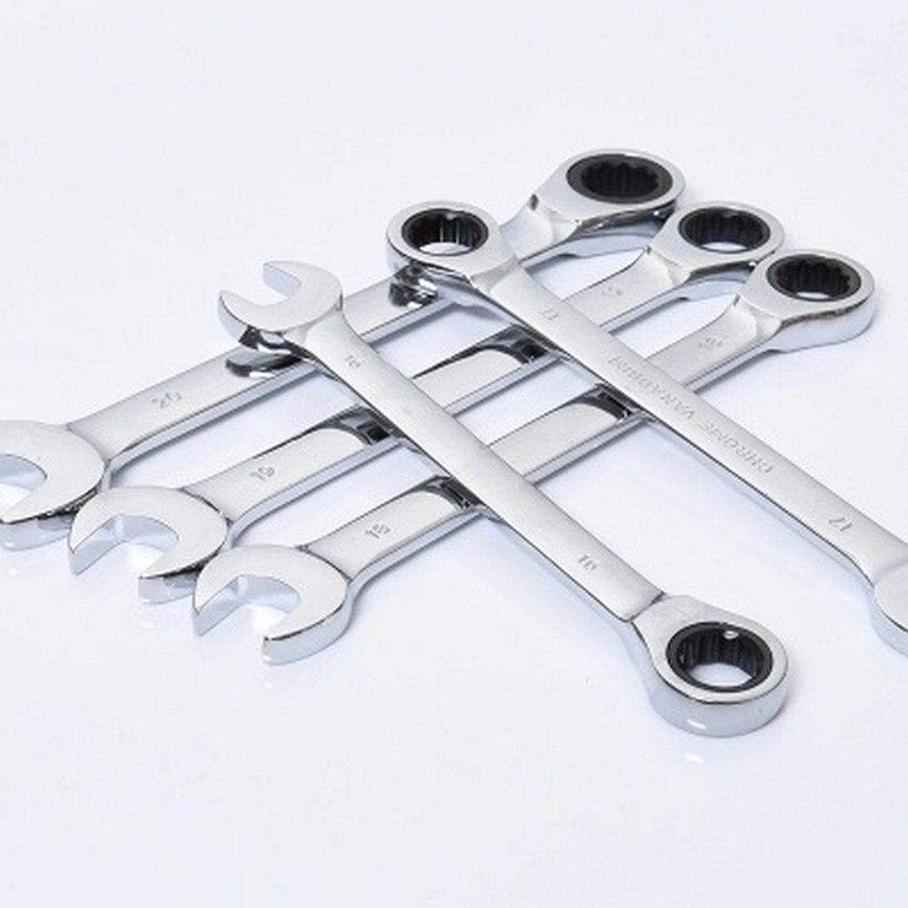 Juego de llave métrica de combinación de trinquete de 7-18MM, anillo de engranaje de diente fino, Torque y juego de llaves de tubo, herramientas de tuerca para reparación