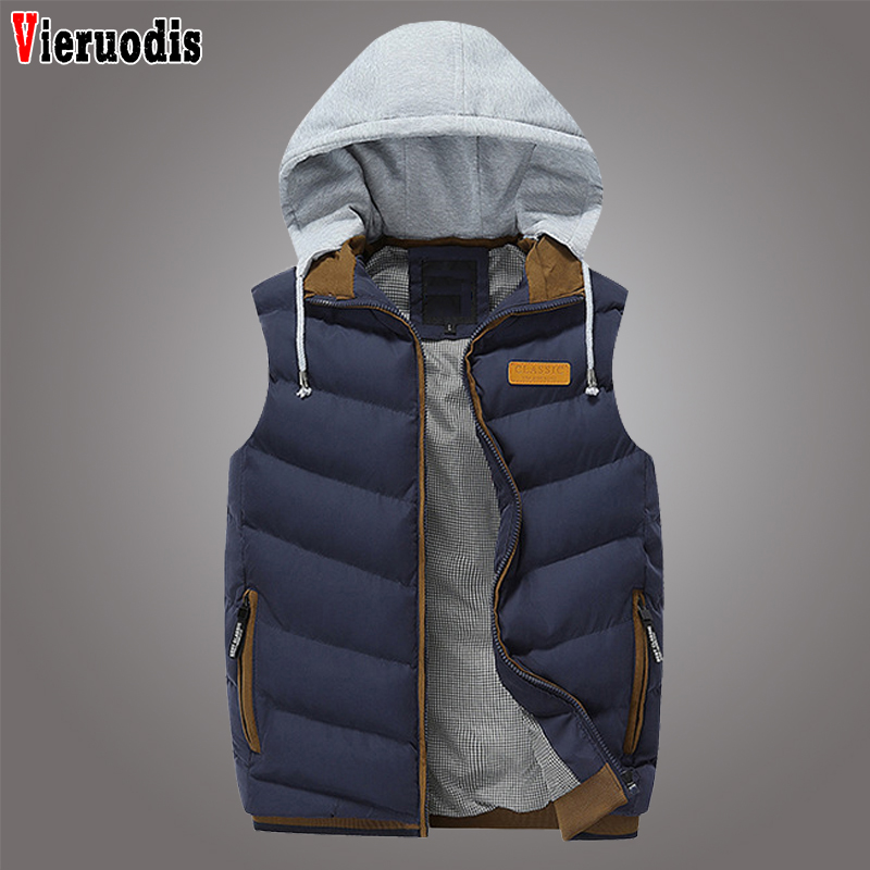 Men's 2019 Winter Brand Clothing Men Fashion Hoodies Thick Vest Down Coats Male Slim Waistcoats Outwear Men Casual Hooded Vest