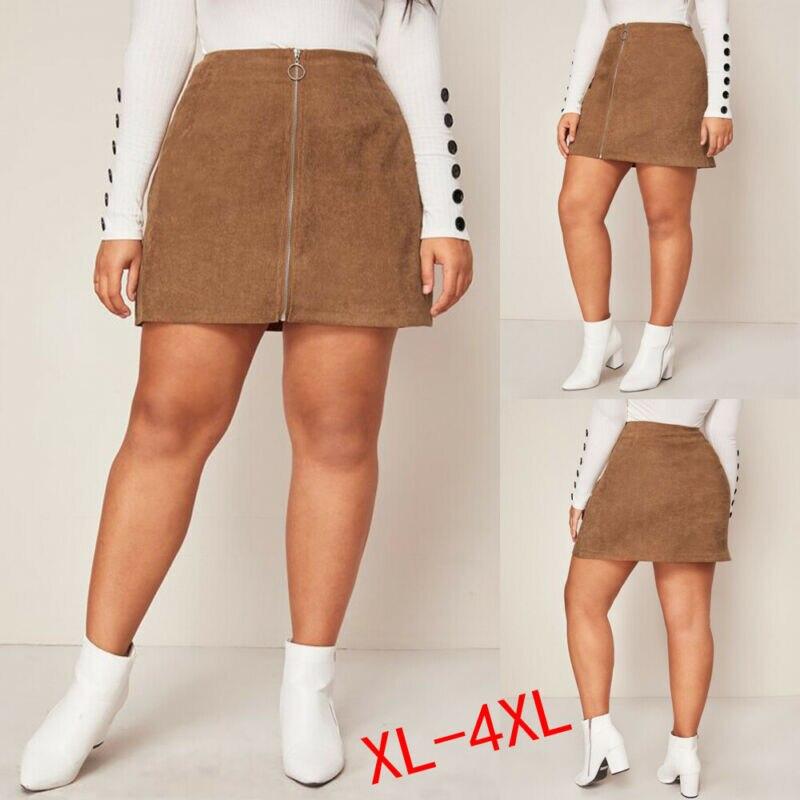 S-4XL Big Plus Size Women Short Skirt Zipper A-Line Corduroy High Waist Mini Skirt For Women High Waist Skirts