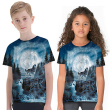 Fashion 3D Wolf Printed Children T-shirts Quality Hot Sale Street Tops Short Sleeve Crew Neck T-shirt Clothes for Boys Girls 3d flame bird print crew neck long sleeve t shirt