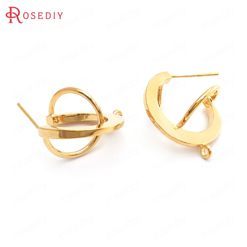 37083 10PCS 7x13MM 24K Gold Color Brass Drop Shape Stud Earrings Accessories