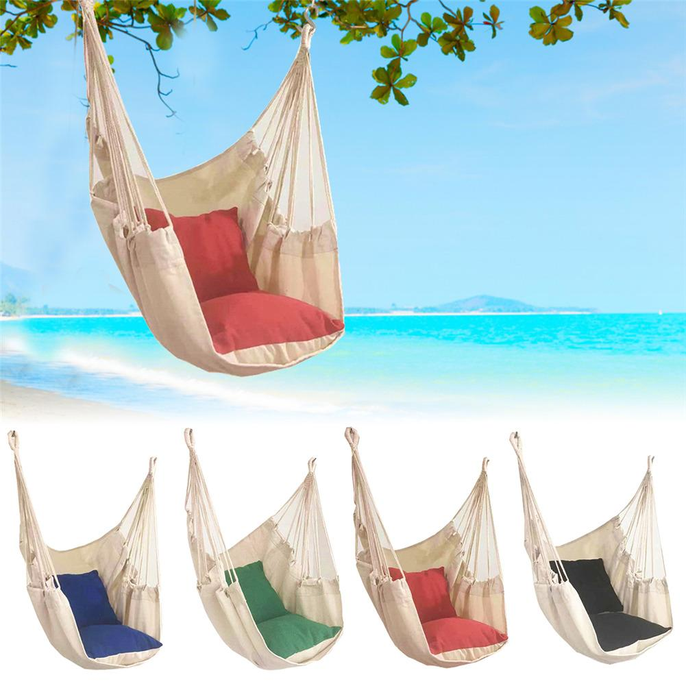 Portable Hammock Hanging Swing Chair With Cushion Adult Student Dormitory Courtyard Amping Survival Travel Parachute Hammocks