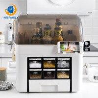 Seasoning Storage Box Multifunctional Household Kitchen Supplies Organizer Shelf Home Desktop Racks Chopping Block Storage