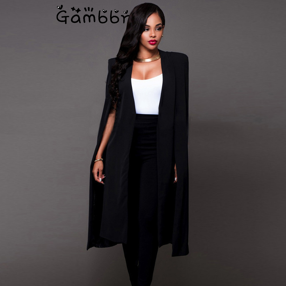 Plus Size England Style Cloak Cape Long Blazer Solid Women Clothes Fashion Loose Causal 2019 Autumn Black White Jacket And Coat